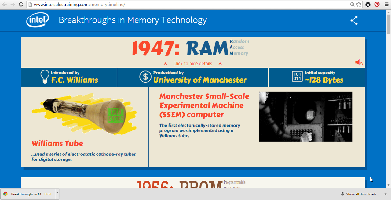 Via Intel History of Memory