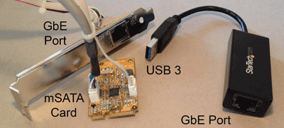 mSATA to GbE and USB to GbE