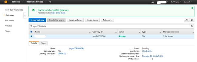 AWS Storage Gateway Configure File Share