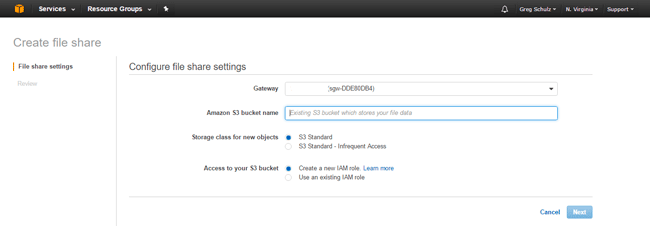 AWS Storage Gateway Create Share