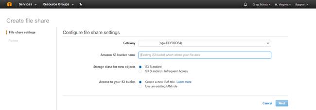 AWS Storage Gateway Create Share