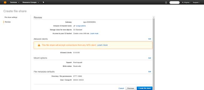 AWS Storage Gateway access from Windows
