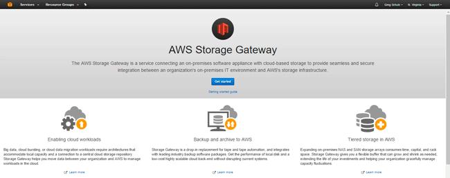 AWS Storage Gateway Landing Page
