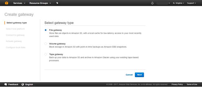 Select type of AWS storage gateway