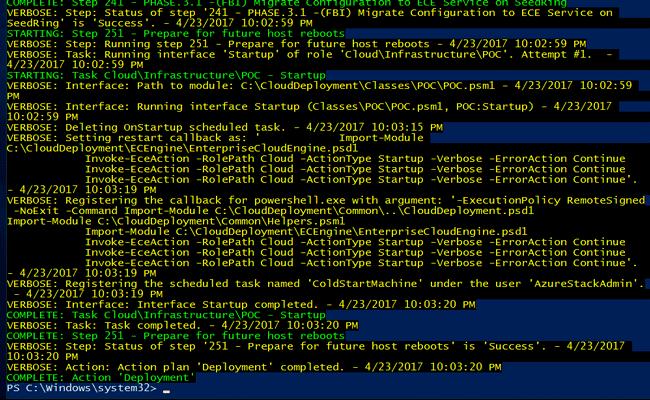 azure stack tp3 deployment progress