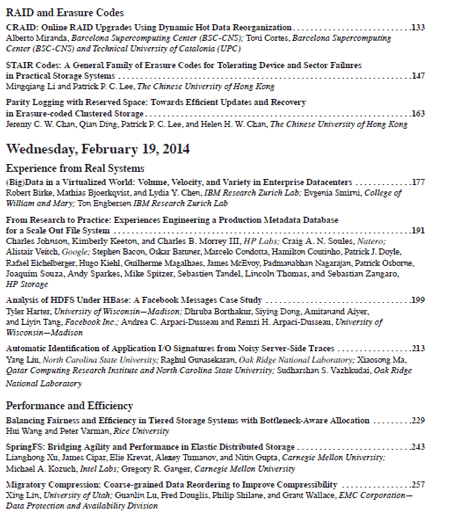 USENIX FAST 2014 Proceedings Index part 2
