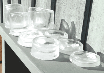 different tiers of frozen water storage containers