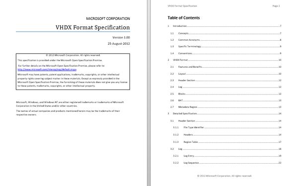 Microsoft VHDX specification document
