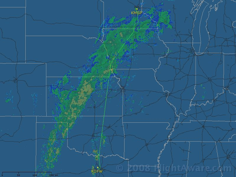 Flight routing from DFW to MSP - Via www.flightaware.com