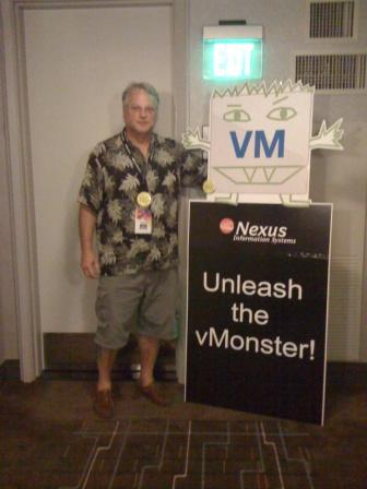Greg Schulz with the NEXUS vMonster at VMworld 2011 @cxi party