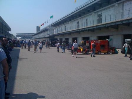 Gasoline Alley at Indy 500 Practice during a speaking event