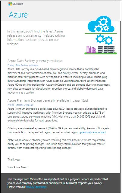 Microsoft Azure customer update