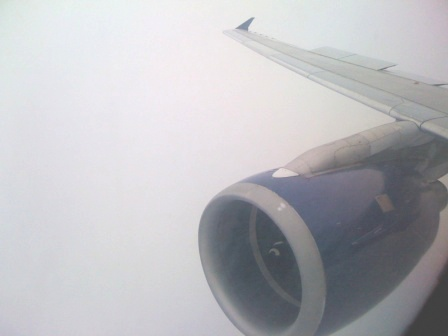 Above the clouds, the engine (A GE/CFM56) enables this journey to and above the clouds