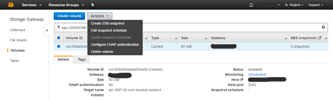 AWS Storage Gateway Volume CHAP