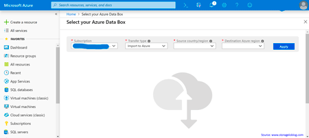 Selecting Data Box from Azure Portal