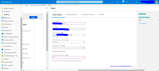 Specify Azure Storage Account Information Where Data Will Transfer To