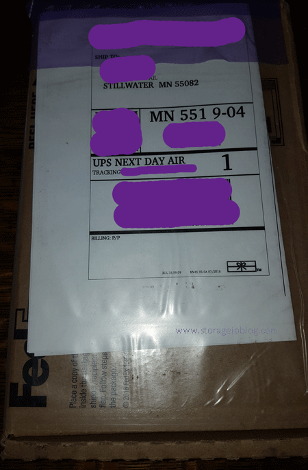 The shipping box with Data Box Disks arrives