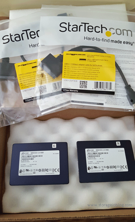 Contents inside the shipping box, two Data Box 8 TB disks