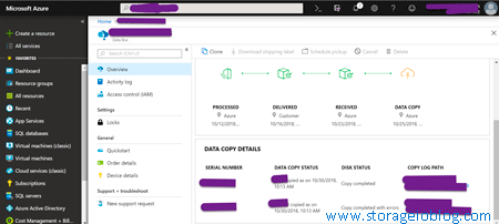 Azure Data Box portal showing disk copy operation status