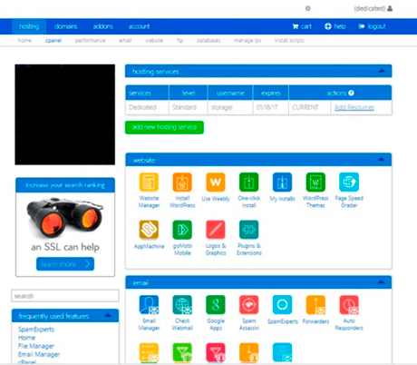 SDDI and SDDC dashboard cpanel
