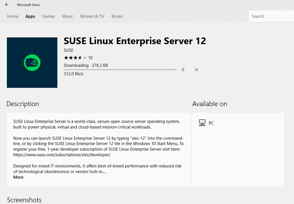 WSL installing SUSE