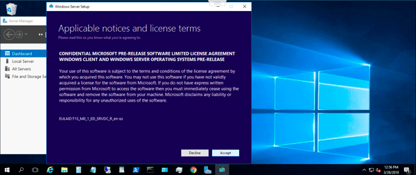 Microsoft Windows Server 2019 Insiders Preview license