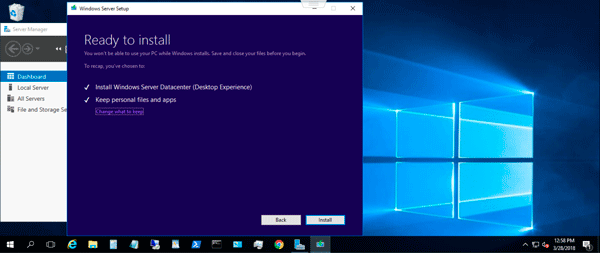 Microsoft Windows Server 2019 Insiders Preview install start