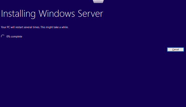 Microsoft Windows Server 2019 Insiders Preview upgrade in progress
