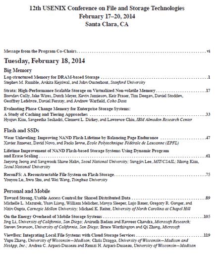 USENIX FAST 2014 Proceedings Index