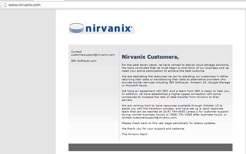 nirvanix customer message