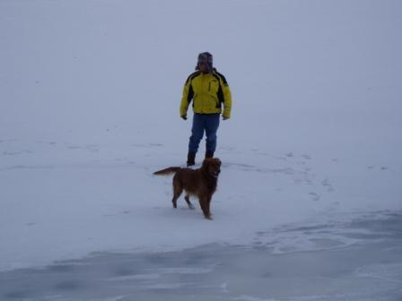"Greg walking on ""Frozen"" water"