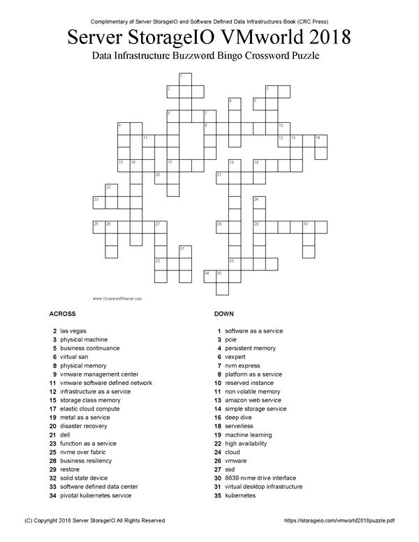 2018 VMworld Data Infrastructure Buzzword Bingo Puzzle